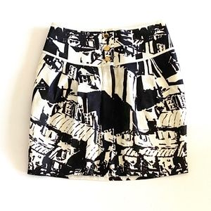 Tory Burch White Black Print Linen Skirt Size 0